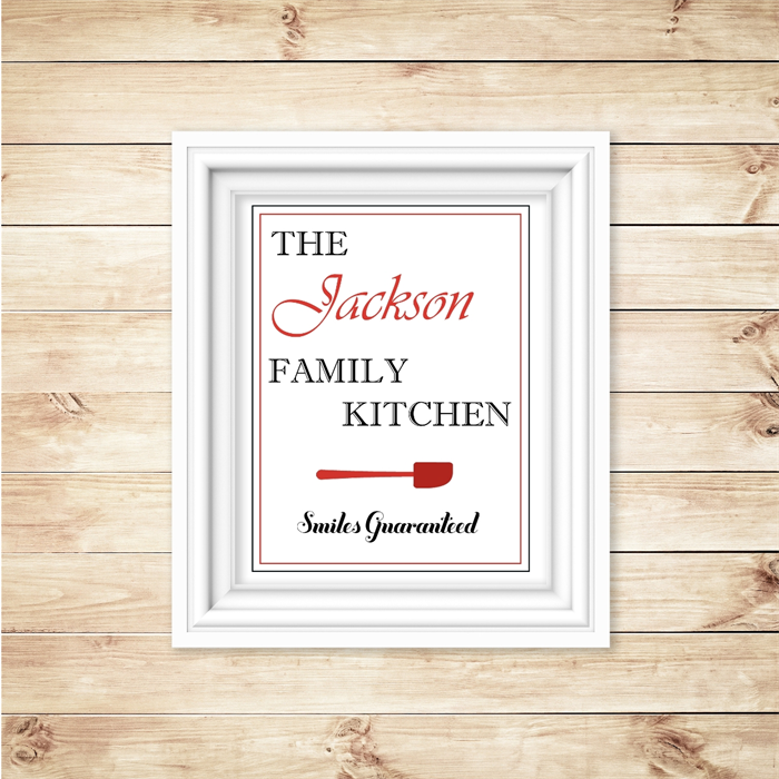 The Family Kitchen Personalised Kitchen Wall Art Decor Printable