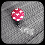 Cream Hearts on Red: ID Badge Reel