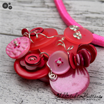 NEON Pink Cluster Button Pendant & Earrings - Shades of Pink - Resin