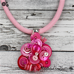 Pretty in Pink Cluster Button Pendant & Earrings - Shades of Pink - Stripes