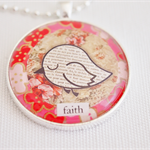 Faith Bird Collage pendant necklace