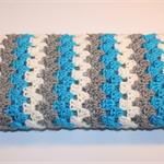 Baby Boy Cot or Pram Blanket - crocheted - blue grey cream - granny stripe