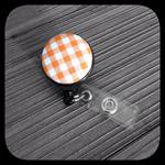 Orange and White Gingham: ID Badge Reel