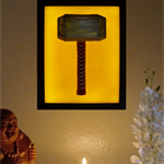 Thor's Hammer Mjolnir wax painting led light box lamp framed model night light