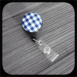 Navy Blue and White Gingham: ID Badge Reel