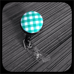 Green and White Gingham: ID Badge Reel