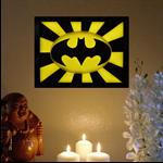 The Dark Knight Batman symbol wax sculpture painting candles led lights framed