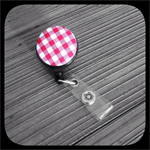 Red and White Gingham: ID Badge Reel