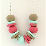 Mint, Blush and Latte Polymer Clay Necklace