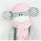 Sock Monkey White and Grey Stripes with Soft PInk, Soft Toy