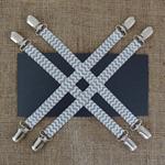 Pram Clips (set of 4) - Grey & White Chevron