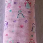 Large flannelette / minky baby blanket for baby girl - penguins!