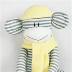 Sock Monkey White and Grey Stripes with Yellow, Soft Toy