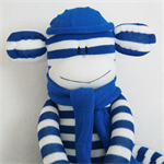 Sock Monkey Royal Blue and White Stripes, Soft Toy