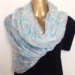 Silk Chiffon Scarf, Aqua, Coral Watercolor on White with Silver Thread.