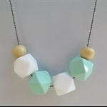 Silicone & wood Teething Necklace (aqua & white)