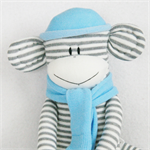 Sock Monkey White and Grey Stripes with Baby Blue, Soft Toy