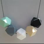 Silicone & wood Teething Necklace (earth tones & aqua)
