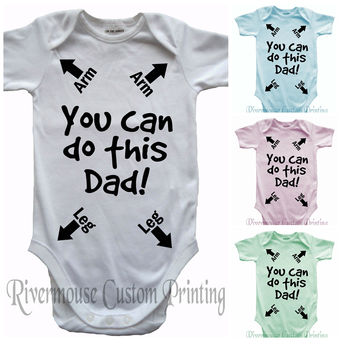 3846a9994e8 DADS INSTRUCTIONS Baby Onesie YOU CAN DO THIS DAD - Funny Custom Print  Romper