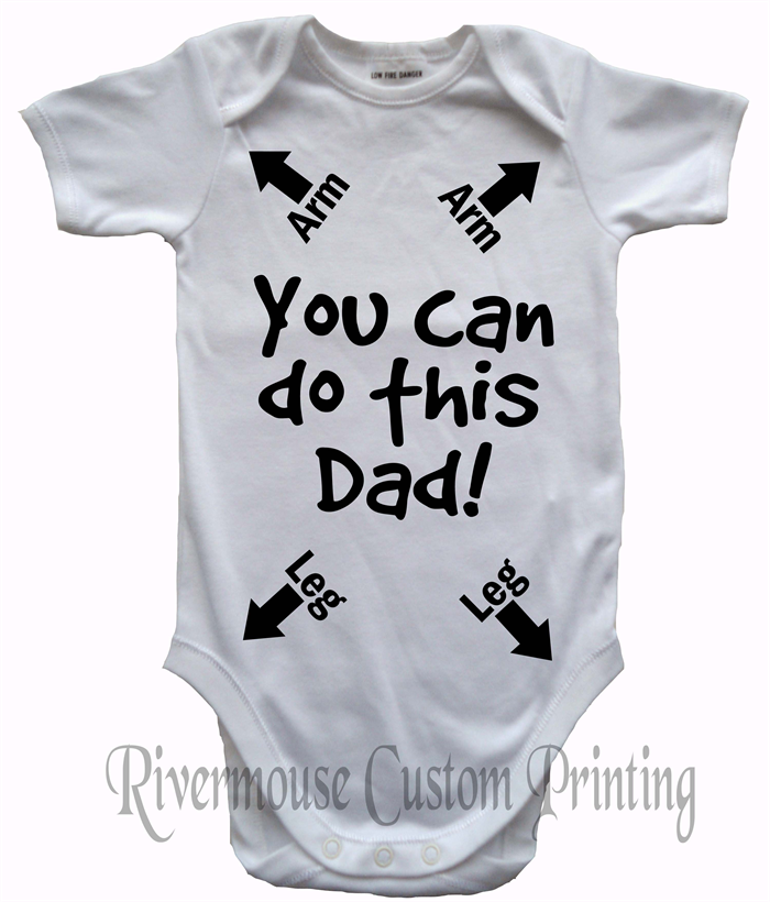 640567ed1e7 ... DADS INSTRUCTIONS Baby Onesie YOU CAN DO THIS DAD - Funny Custom Print  Romper