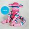Sock Monkey Kit - Pink Blue and White Stripes, Craft Kit, Soft Toy Pattern
