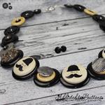Mustache man Buttons Necklace Button Jewellery - Earrings