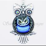 Funky Metal and Swarvoski Crystal Beaded Owl Necklace - Blue & Black