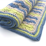 Crochet blanket for baby or you - blue, taupe, lime