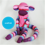 Sock Monkey Kit - Pink and Purple Stripes, Craft Kit, Soft Toy Pattern