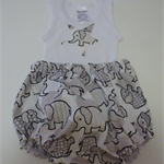 Size 1-3 months Happy Elephants Nappy Pants and Appliqued Singlet