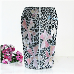Floral  Mosaic Vase  with muted pink shaded flowers on black