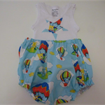 "Size 1-3 months ""Flying Balloons"" Nappy Pants and Appliqued Singlet"