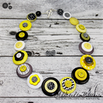 Chevron - Grey Black Yellow - Buttons Necklace Button Jewellery - Earrings