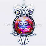 Funky Metal and Swarvoski Crystal Beaded Owl Necklace - Blue, Red & Pink