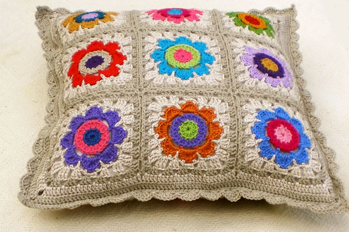 Crochet Flowers Cushion Cover Art And Wool Madeit