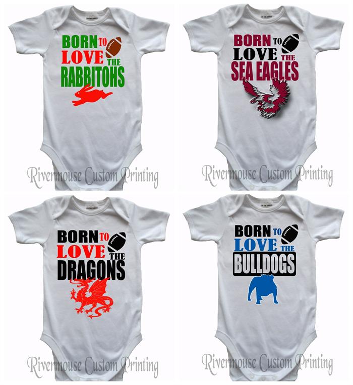Nrl Baby Onesies Custom Print Rugby League Infant Romper Choose Your