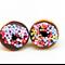 Donut Studs - Chocolate donut stud earrings - Doughnut studs