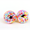 Donut studs - Purple donut stud earrings - with sprinkles  - donut earrings