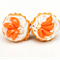 Cupcake studs - Cupcakes with cream & peach fruit topping stud earrings