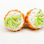 Cupcake studs - Kiwi studs - Cupcakes  kiwi fruit topping stud earrings