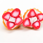 Cupcakes with cream & strawberry fruit topping stud earrings