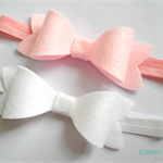 Pink and White Large Bow headband pair - Newborn - Toddler - Birthday