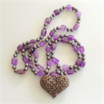 Amethyst and Hematite Necklace with Flower Heart Pendant