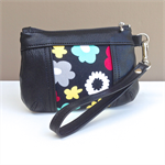 Brooke Coin Purse:  Black goat skin leather with black floral recessed insert