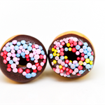 Chocolate donut stud earrings - with sprinkles of course