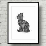 A4 Art Print Cat - Our perfect Companions never have fewer than four feet