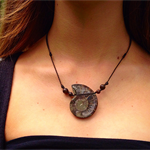 Ammonite stone fossil necklace