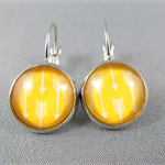 Cabochon Drop Earrings - Yellow Arrows