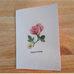Handmade Australian Embossed Pink Rose Birthday Card and a pink insert.