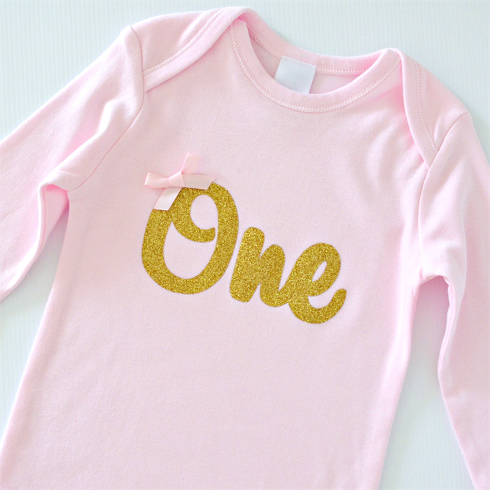 71f872944 Gold Glitter 'One' Pink Bodysuit with bow - 1st Birthday / Cake Smash Outfit  | Little Miss Charlie's Treasures | madeit.com.au
